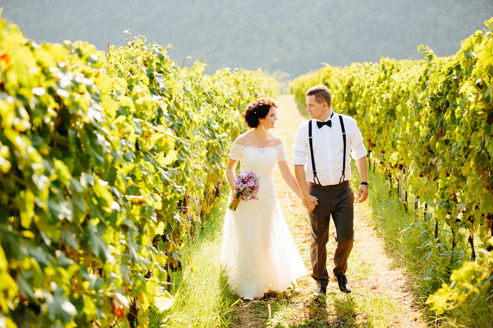Bryllupsbilde fra vingård i Toscana, Italia.