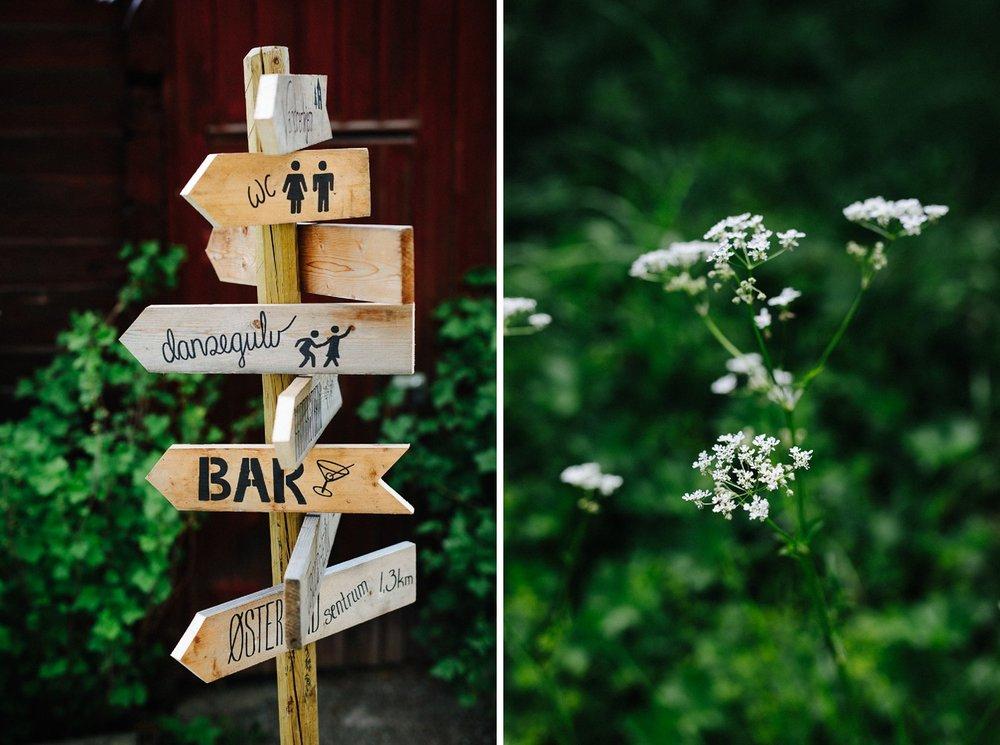 Hjemmelaget skilt til bryllup som viser vei til både bar, dansegulv og toalett.