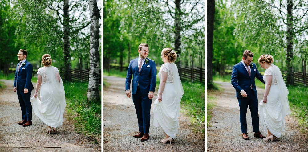 First look hvor brudeparet ser hverandre for første gang ferdig pyntet