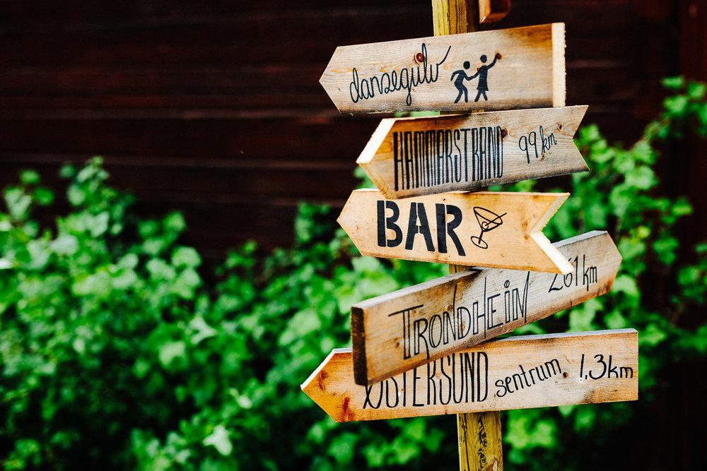 Hjemmelaget skilt fra bryllup viser vei til dansegulv, bar og toalett.