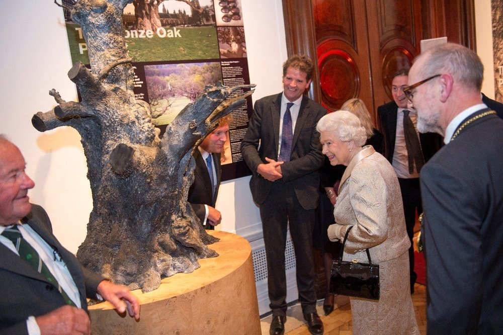 Her Majesty being presented with the maquette of the Bronze Oak at the Royal Academy of Arts, October 2016.