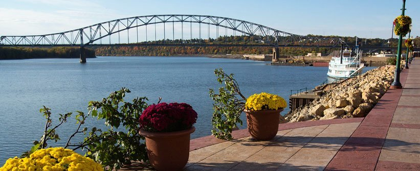 The bridge over the Mississippi at Dubuque.   Photo courtesy of The City of Dubuque