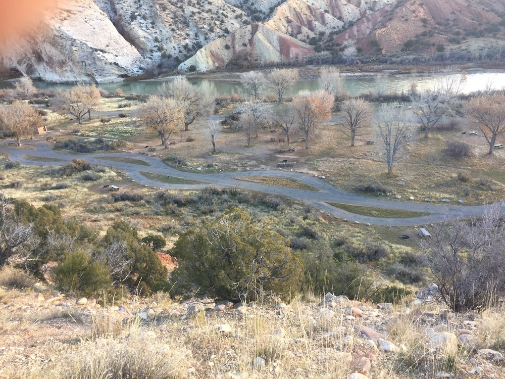 Looking down at one of the campgrounds I stayed at in Dinosaur National Monument.