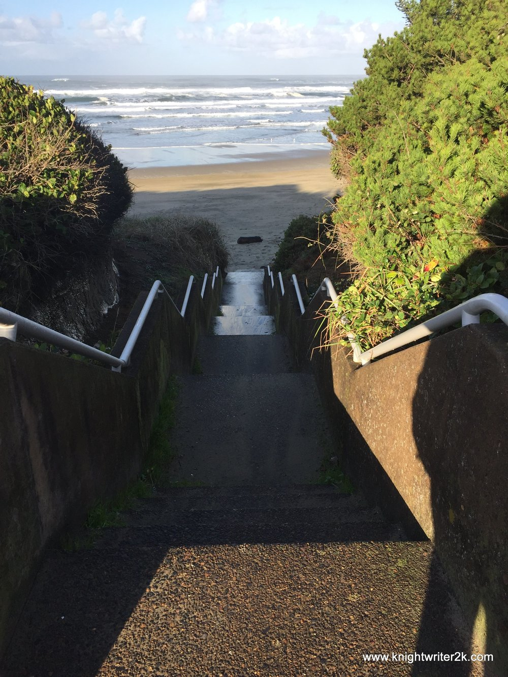 Stairway to the beach, Oregon coast.