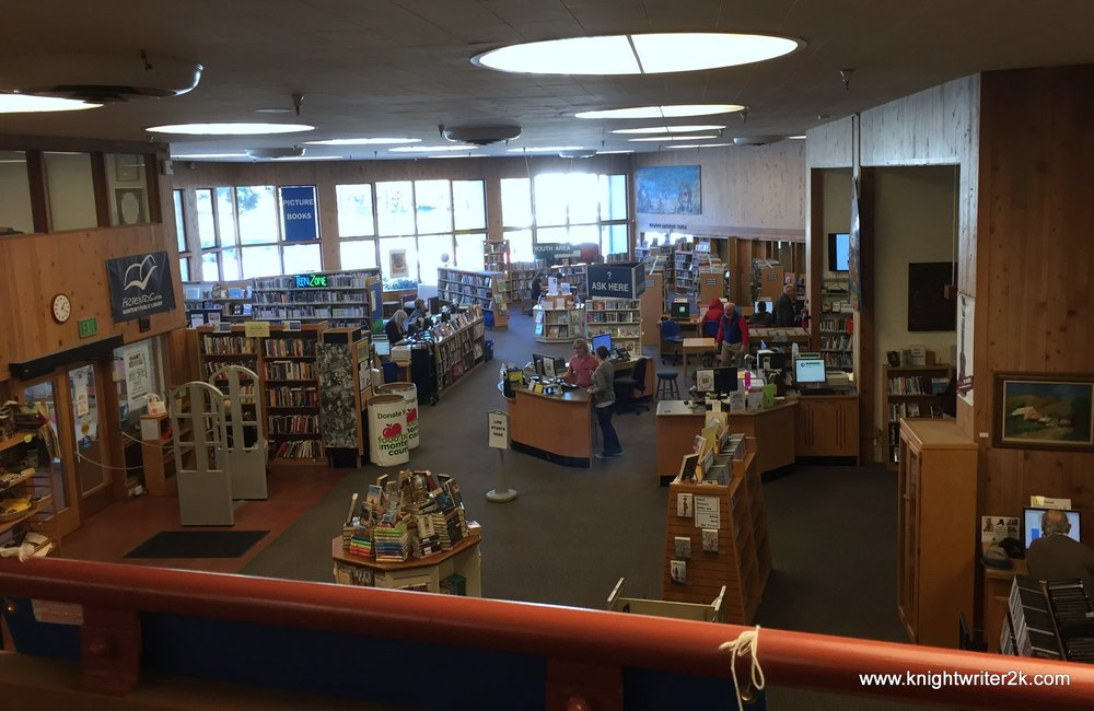 The open floor plan of the fabulous Monterey Public Library as seen from the second floor.