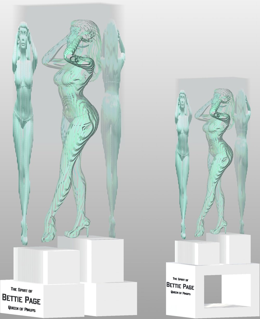 "LEFT:  Life-Sized 66"" Bettie in 94"" sculpture with stand Limited Edition of 3  RIGHT:  2/3rds Size 44"" Bettie in 72"" sculpture with stand Limited Edition of 5"