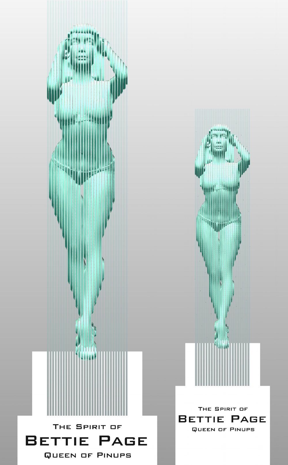 "LEFT:  Life-Sized (66"") Bettie in 94"" sculpture with stand Limited Edition of 3  RIGHT:  2/3rds Size (44"") Bettie in 72"" sculpture with stand Limited Edition of 5"