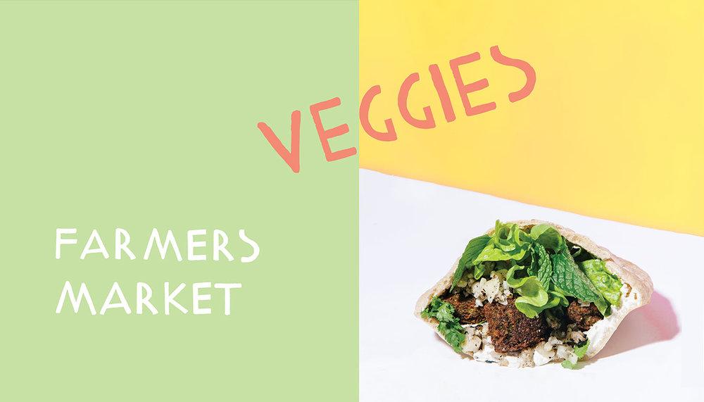 farmers market veggies / kismet falafel