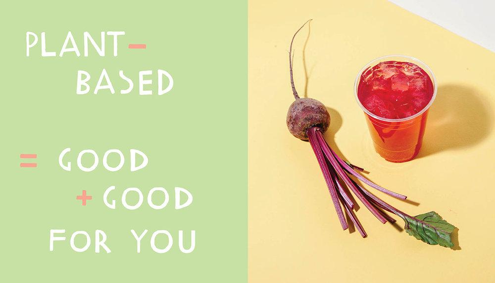kismet falafel plant-based = good + good for you / beet sumac soda