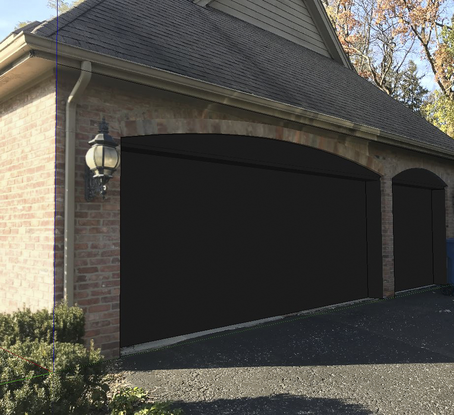 New garage door concept.  Photo real rendering.