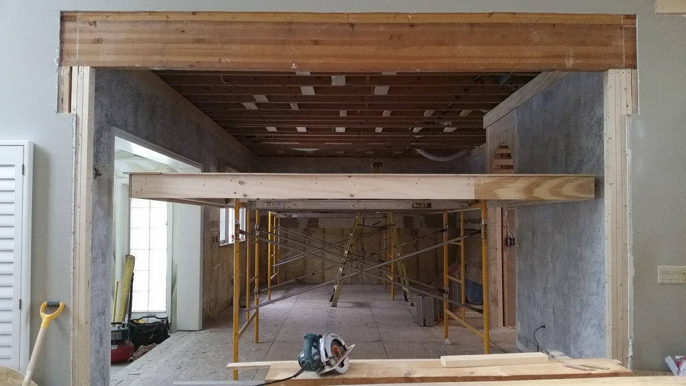 Coffered ceiling crafted by Valle Homes.   Constructed on scaffolding to maximize efficiency.   The entire assembly will be raised in one piece and secured to ceiling framing.