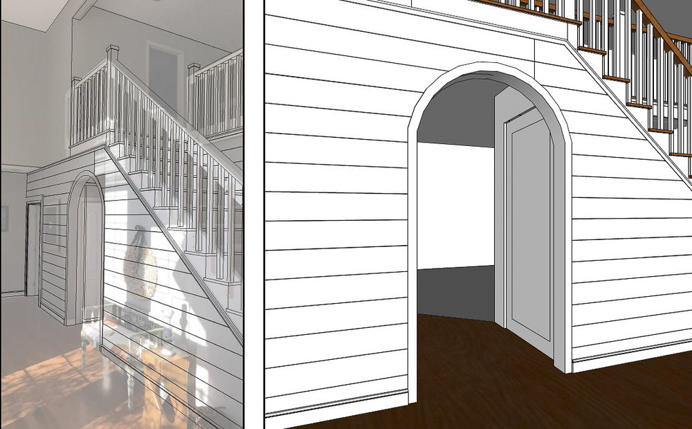 Exploring arched opening and shiplap walls in foyer.  Visualizations by Valle Homes.