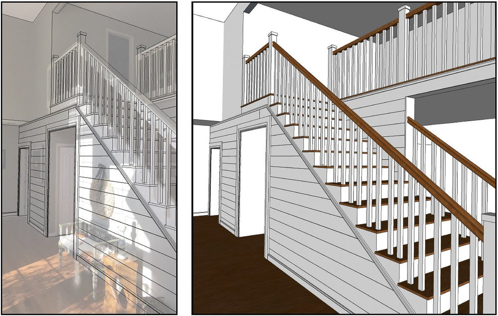 Concept for open tread stairway with wood banister.  Drywall on this side of the foyer will be replaced with shiplap.