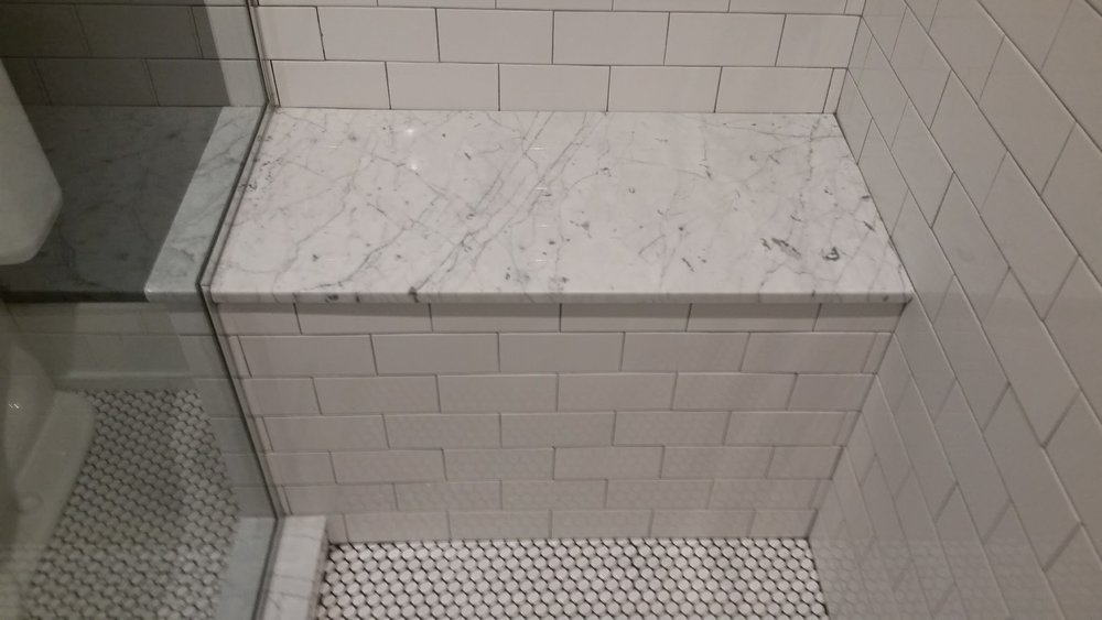 Tiled shower seat
