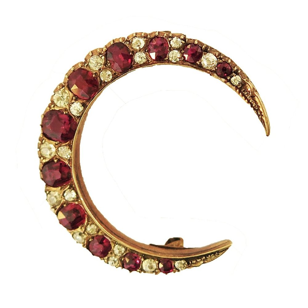 Ruby and Diamond Crescent Moon Brooch
