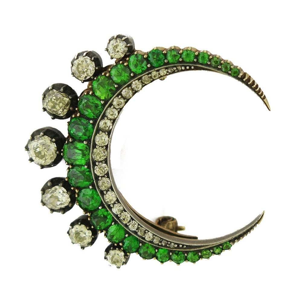 Demantoid Garnets & Diamond Crescent