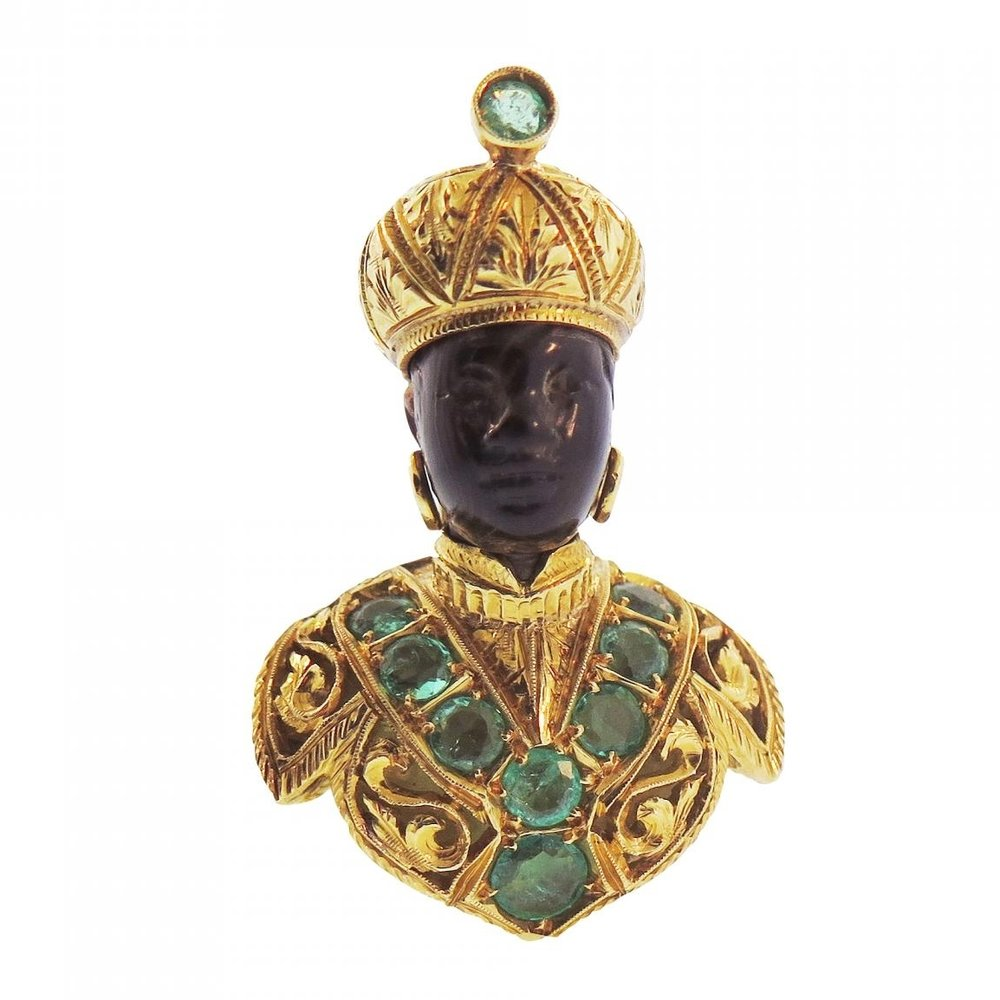 Nardi Blackamoor Emerald Gold Brooch