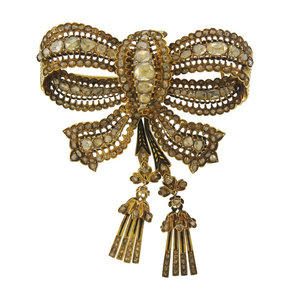 Antique Diamond and Gold Bow Brooch