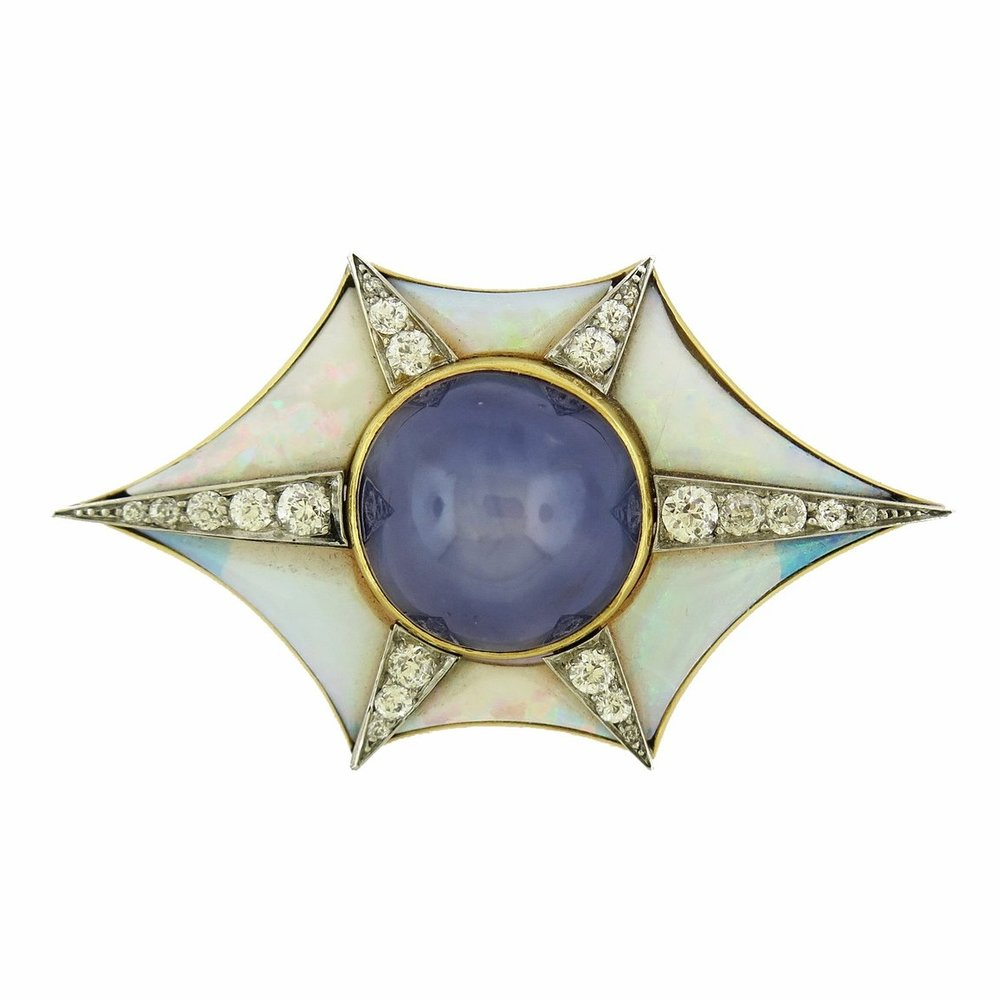 Star Sapphire and Opal Diamond Brooch