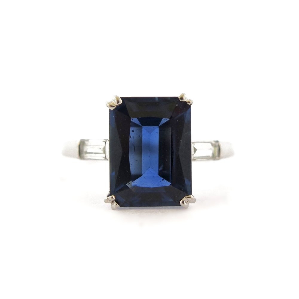 Classic Emerald Cut Untreated Sapphire and Diamond Platinum Ring