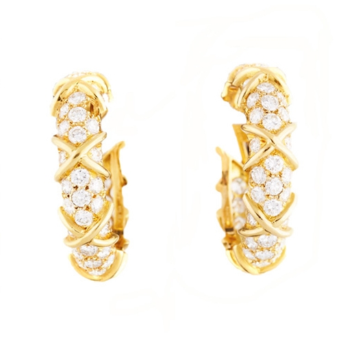 Cartier Diamond and Gold Hoop Earrings