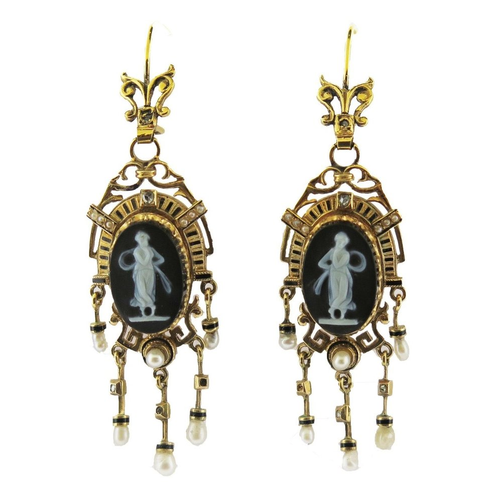 Antique Cameo and Pearl Tassels Long Earrings