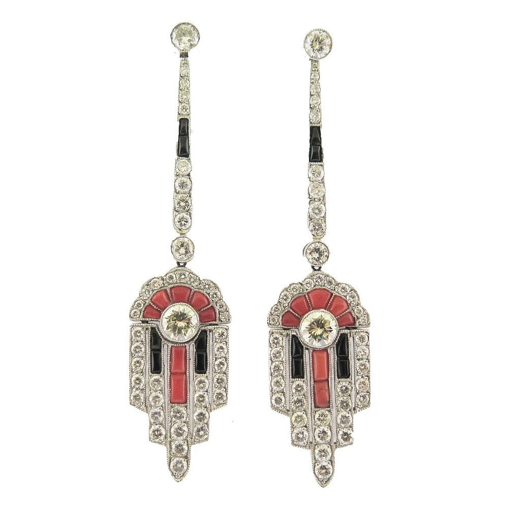 Deco Style Onyx, Coral, and Diamond Ear Pendant