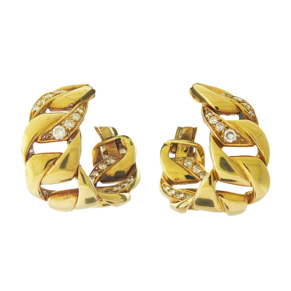 Gold Curb Link and Diamond Earrings