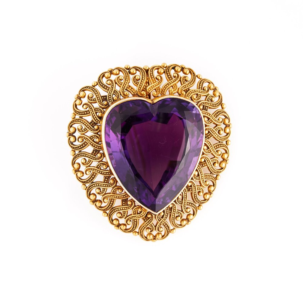 1890s Amethyst and Gold Heart Brooch