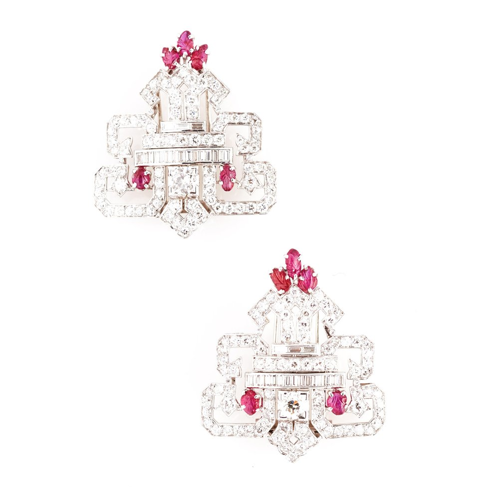 Ruby and Diamond Clips