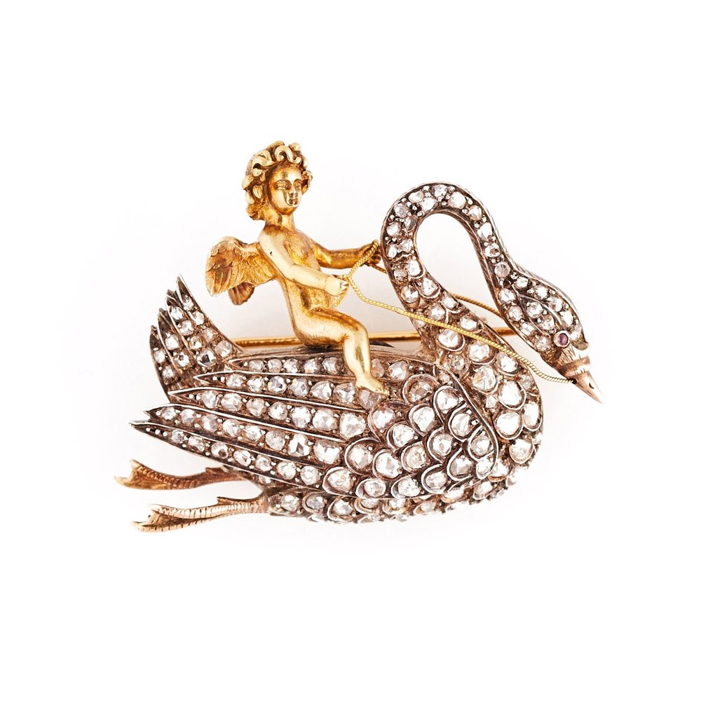 Silver-Topped Gold Revivalist Brooch