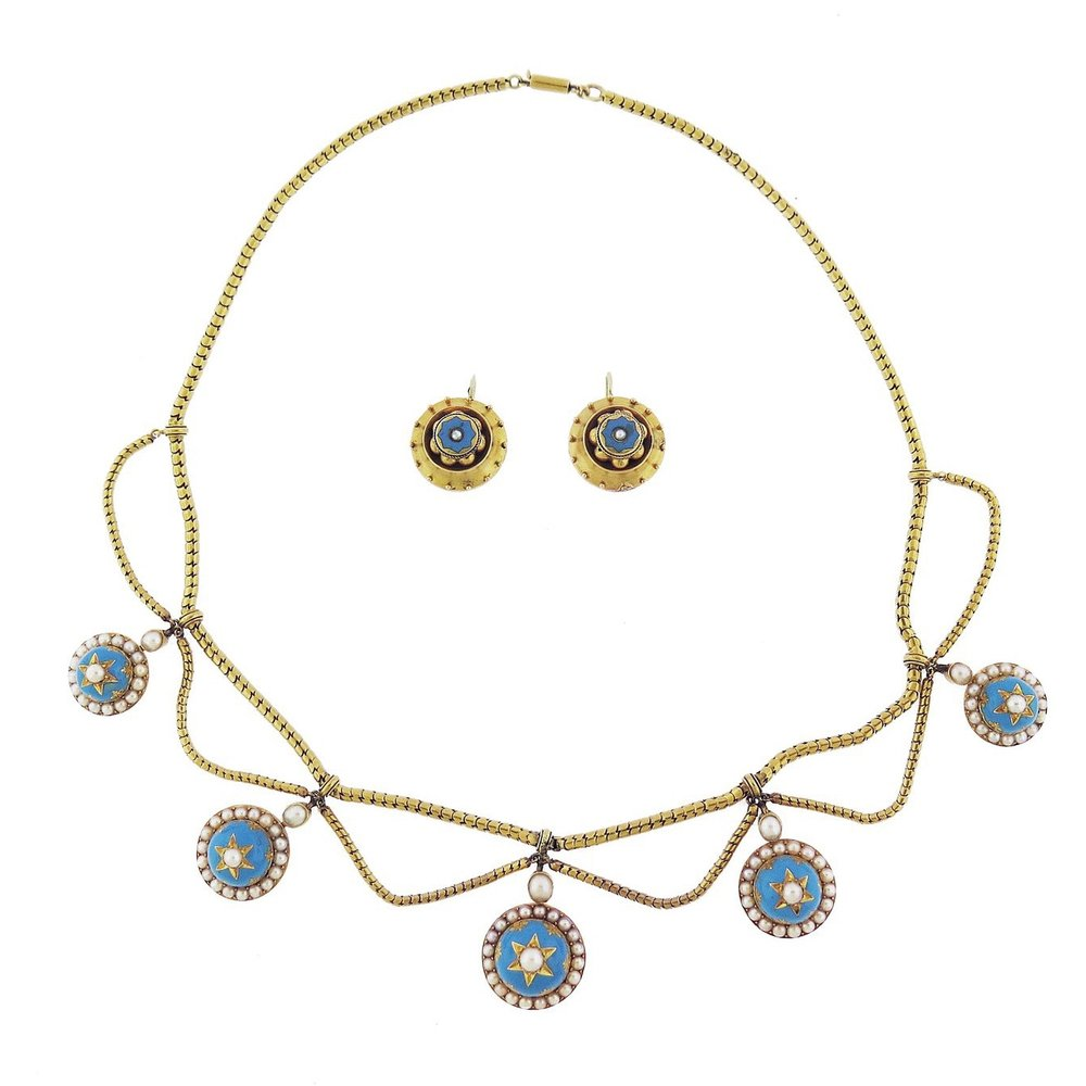 Antique Turquoise and Pearl Gold Necklace and Earrings