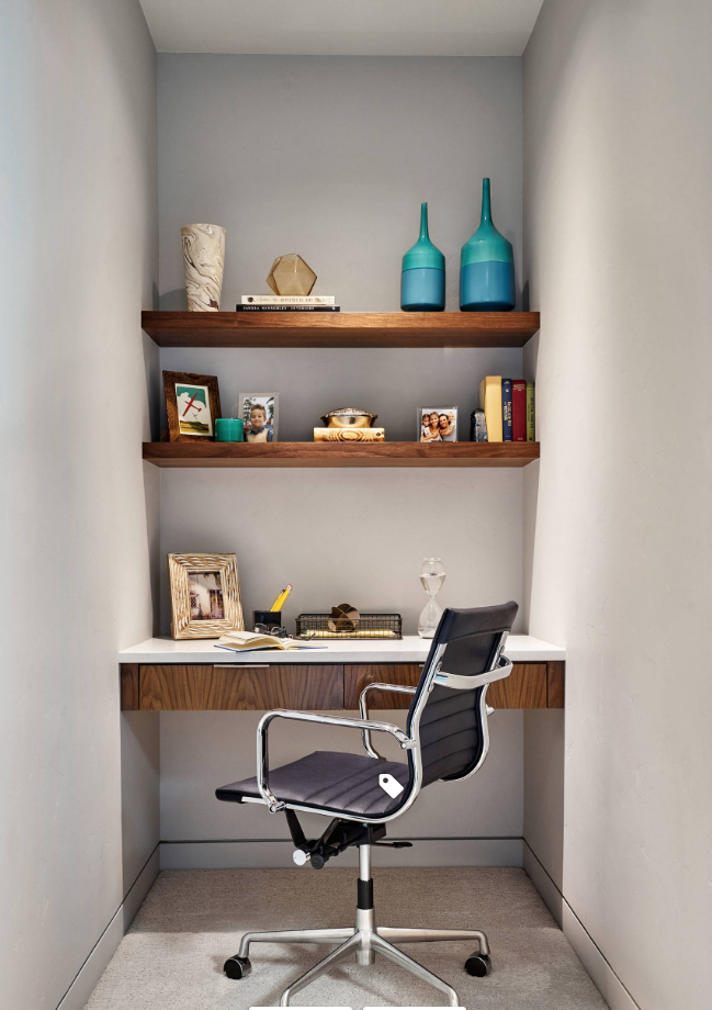 built in office alcove