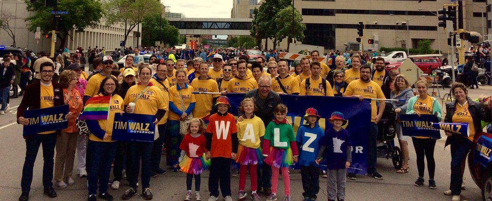 Team Walz at the 2017 Minneapolis Pride parade. Tim is awesome, you'd like him.