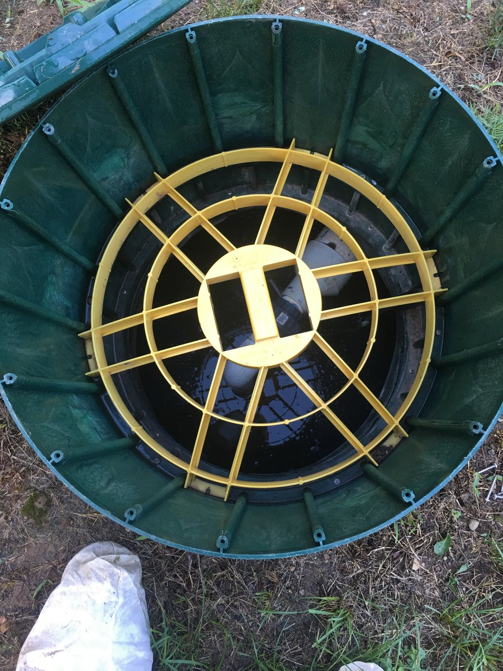 The Riser installed on this Septic System has a secondary safety device installed to prevent people or even animals from accidentally entering the Septic Tank -