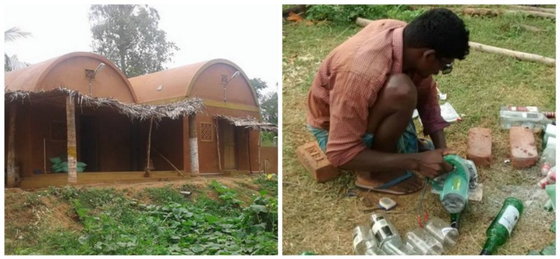 Left: Nesara Farmhouse; Right: Recycling glass bottles into bricks Source: Facebook