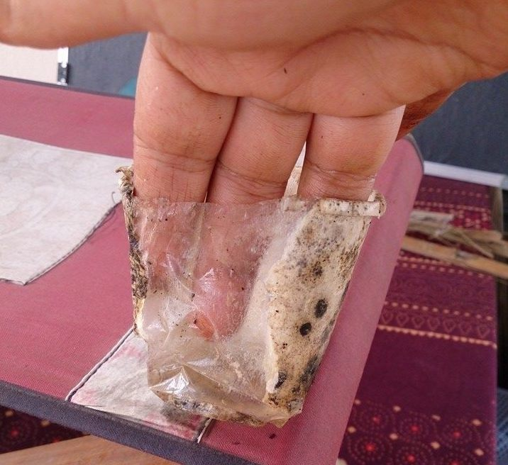 Vani Murthy tried composting a 'paper' cup and found it contained a non-biodegradable plastic lining sandwiched between the paper layers. While the paper decomposes, the plastic lives on. Source: Facebook/Vani Murthy