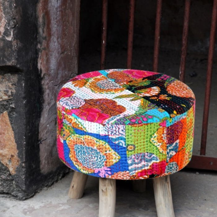 A stool made by upcycling carpets, rugs, mats and old wood furniture. Image: Rimagined