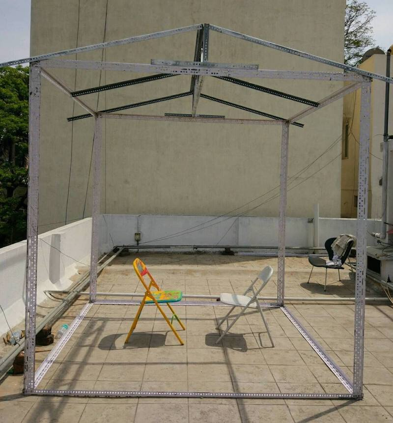 The slotted angle frame of the popup house