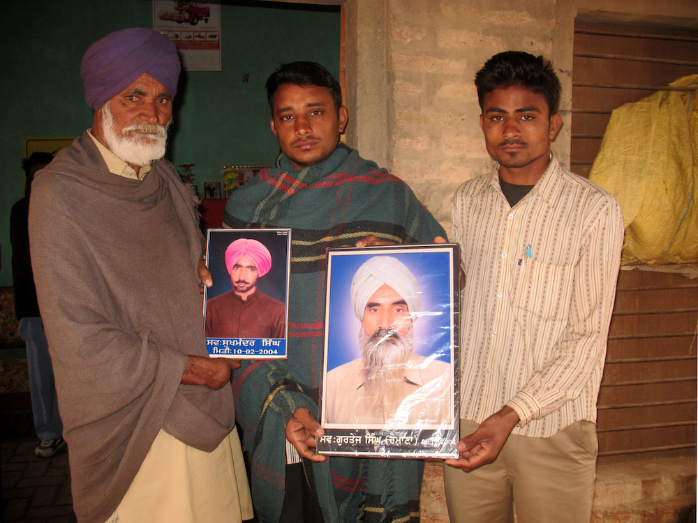 Relatives of farmers in Punjab who lost their lives to the impacts of chemical pesticides. Source