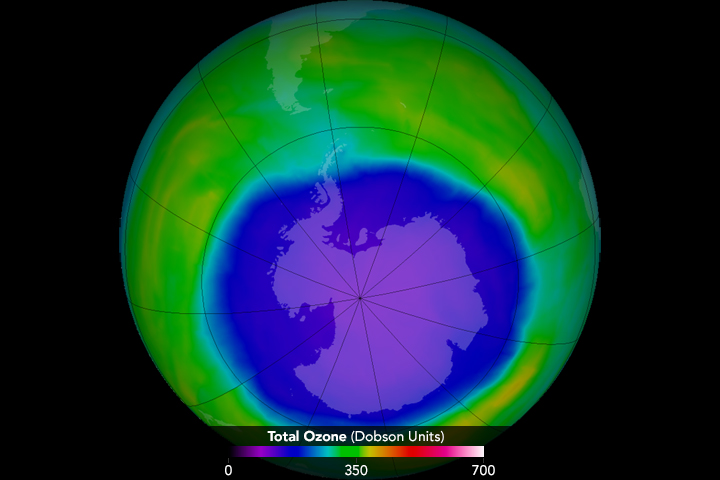 The ozone hole in 2015 was the fourth largest observed, stretching across an area 3 times as large as the continental United States. ITs large size was attributed to toxic dust from Chile's Calbuco volcano. Image: NASA Earth Observatory/ Flickr CC