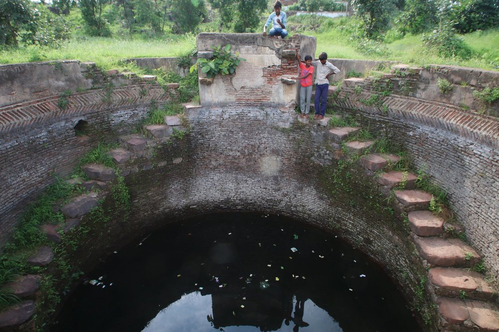 Lakheri Talab Baoli, Khajuraho, Madhya Pradesh is used by locals to fetch water during summers when other nearby wells go dry.
