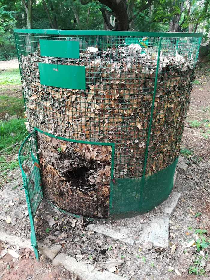 Soil and Health's integrated dry leaf and kitchen waste composters can turn up to 8 tractor loads of dry leaves into manure. Image: Courtesy Vasuki Iyengar