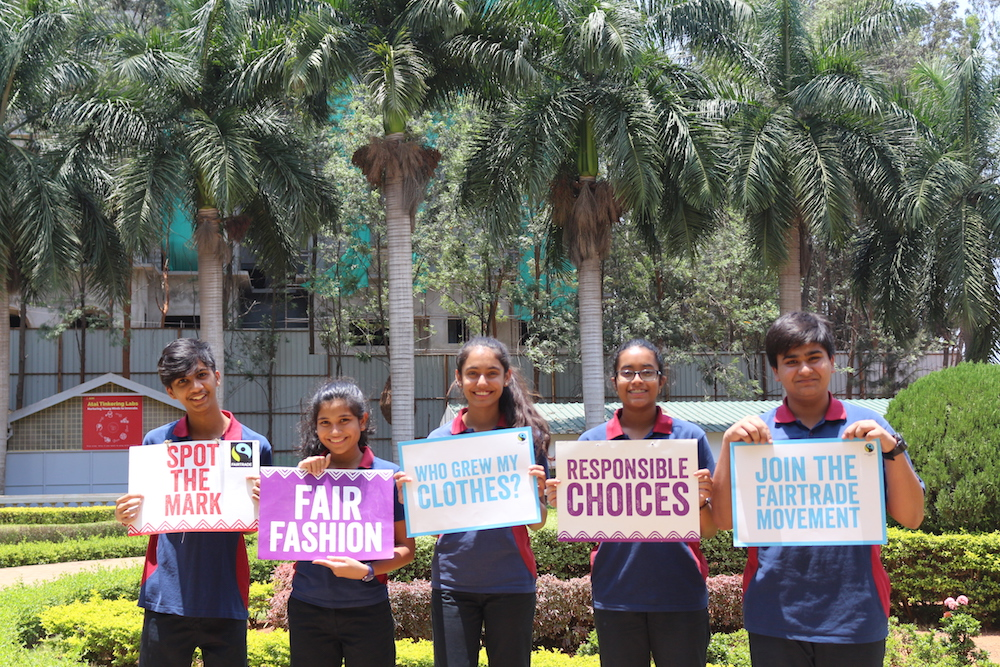 Students of Vidyashilp Academy in their Fairtrade uniforms