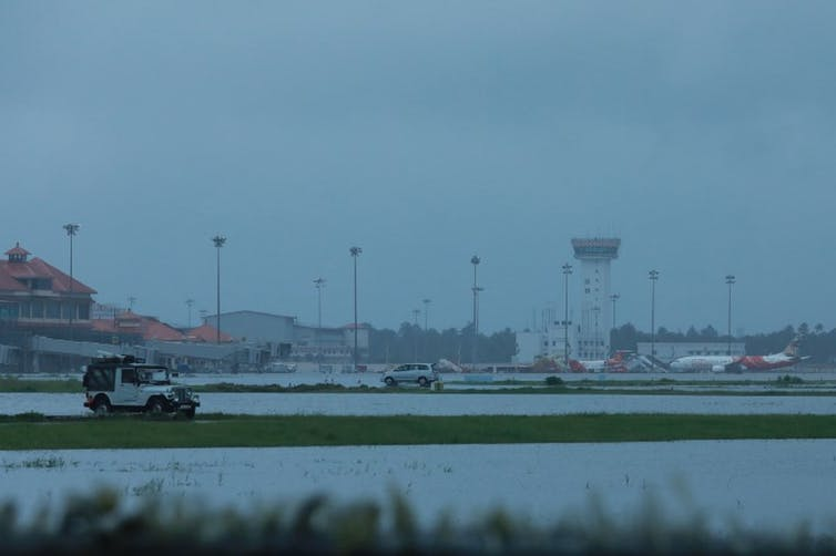 Flooding forced the shutdown of Kochi International Airport. Image:AFP
