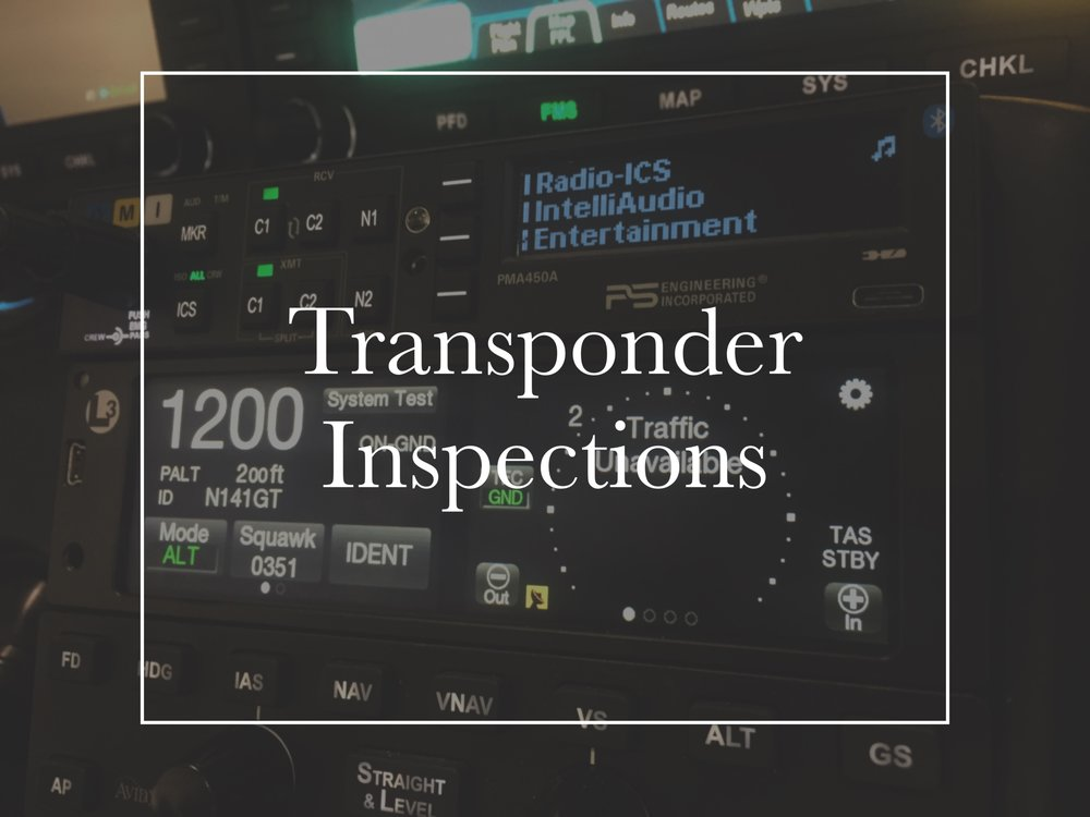 We can service your transponder and altitude reporting system(s) and help you with the required 24-month inspection!
