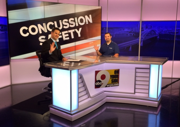 Charley Meade, PT, DPT, ATC interviewing with Channel 9 on Concussion Safety!