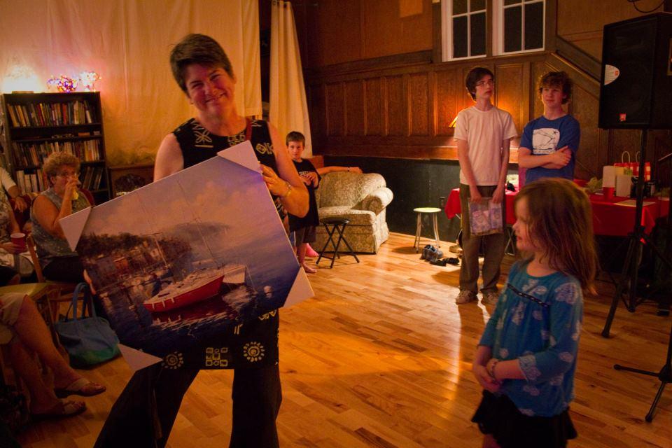 Maggie wins the door prize.jpg