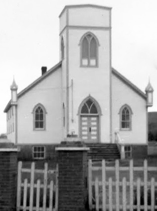 Ochre Pit Cove United Church, built in 1938. Photo taken in 1967. Note the original bell tower was removed at some point and replaced with a peaked roof.