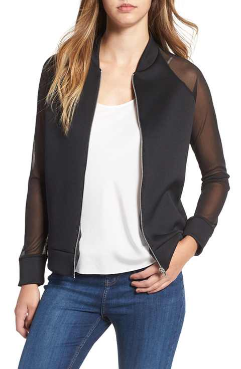 Missguided Mesh Sleeve Bomber Jacket $62